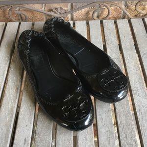 Tory Burch Revas Black Patent Leather Ballet Flats